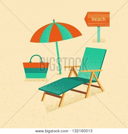 Illustration of a vacation at the beach. Set of vector summer with texture. Set of icons of summer vacation. Collection of elements of summer vacation, travel, holiday. Template for design.