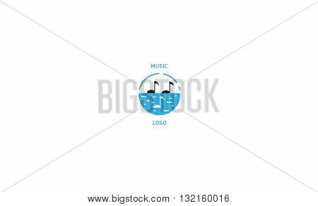 Creative musical logo double meaning note and bird