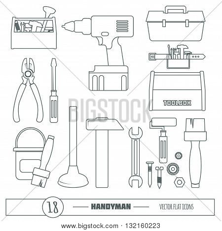 Handyman Tools Vector Set in trendy line style. Amenities repair, house hold equipment fixing symbols. Vector graphics for working tools, plumbing, renovation. Sample text. Editable