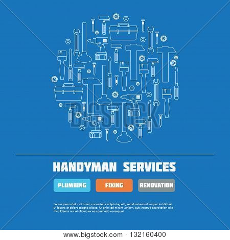 Handyman Business Sign, Icon Vector Set, web site elements. Amenities repair house hold equipment fixing symbols. Vector graphics for working tools plumbing renovation best quality service concept. Sample text. Editable