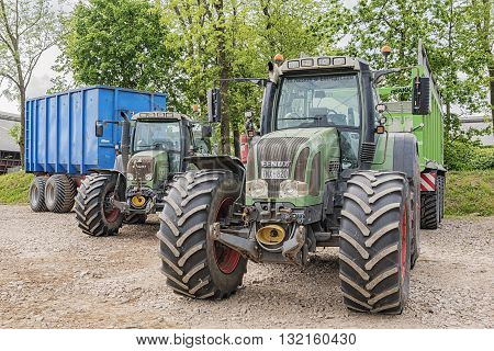 WAPNO SWEDEN - MAY 29th 2016: Tractor FENDT Vario. Fendt is a German manufacturer of agricultural tractors machines manufacturing a full line of tractors combine harvesters and balers.