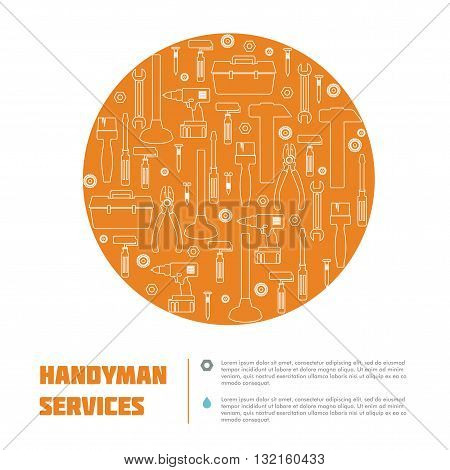 Handyman Tool banner & Icon set. Amenities repair house hold equipment fixing symbols. Vector graphics for working tools, plumbing, renovation service concept. Sample text. May use a web site element. Editable