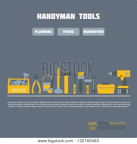 Handyman Business Icon Vector Set. Amenities repair house hold equipment fixing symbols. Vector graphics for working tools, plumbing, renovation service concept. May be used as web site elements. Sample text. Editable