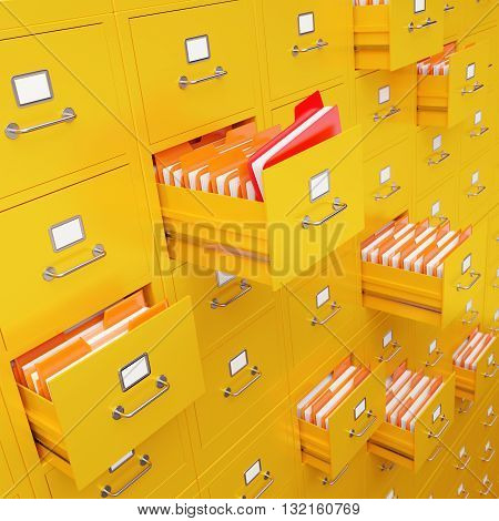 Very high resolution 3D rendering of a large file cabinet