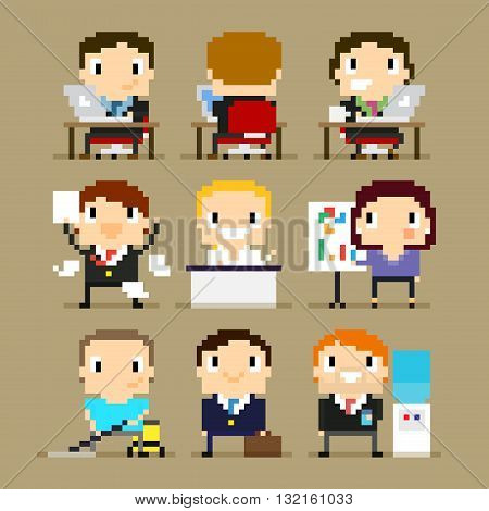 Different pixel art office characters 8-bit characters office character at his desk working on laptop happy man with paper agreement woman showing the presentation and other office characters