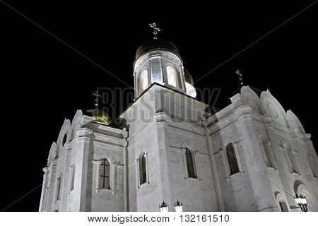 The Cathedral of Christ the Savior in Pyatigorsk Northern CaucasusRussia in the evening