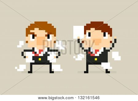 Two pixel art office characters with agreement contract and angry disagreement