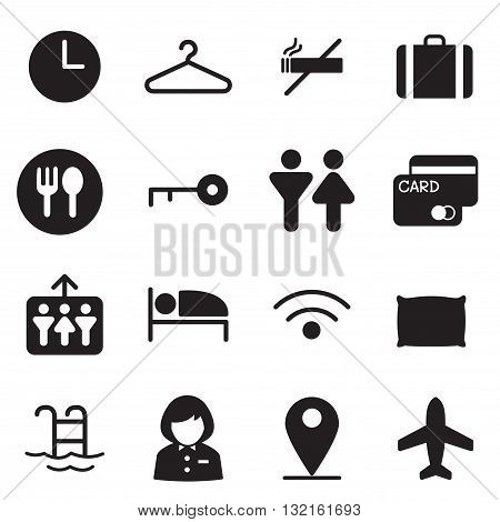 silhouette Hotel hostel motel icons Illustration vector Symbol