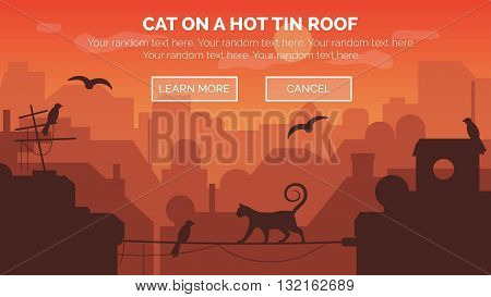Modern urban sunrise scene with architecture and building silhouettes in aerial view with a cat walking on a wire between two buildings.