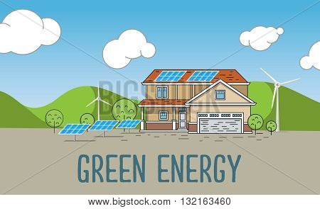 Flat Designed Banners Concept of Eco energy an Eco friendly house. Creative Work Flow Items and Elements. Green energy, urban landscape, ecology. flat design concept illustration.