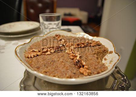 Ortodox Food Wheat Desert With Glass Of Watter