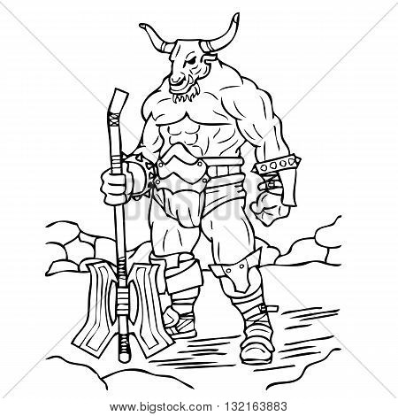 a black outline of a large minotaur