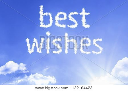 Best Wishes cloud word with a blue sky