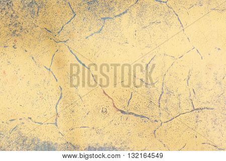 Texture of old rusty metal and yellow paint
