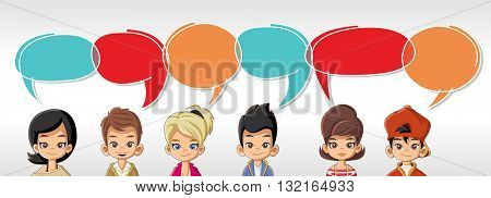 Cartoon children talking with speech bubbles