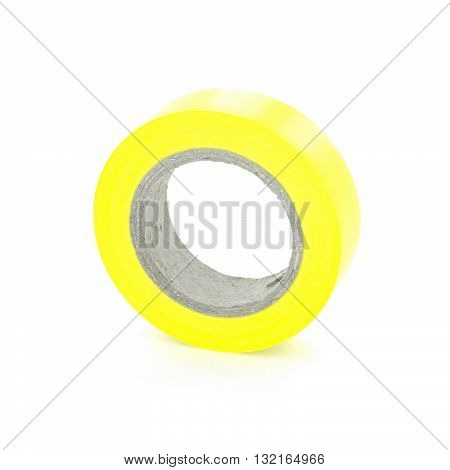 Protecting adhesive yellow insulation tape coil isolated on white background