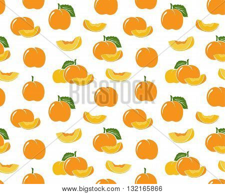Peach pattern. Vector seamless background with fruit icons.