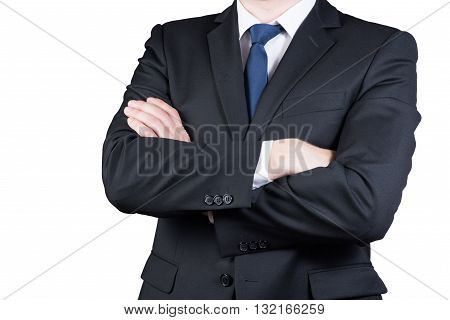 closeup portrait of business man body isolated on white background. Folded hands
