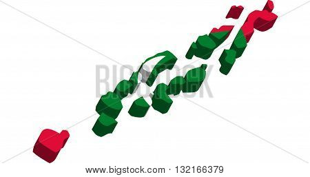 A map of Maldive Islands 3D on white background