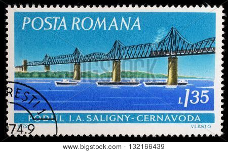 ZAGREB, CROATIA - SEPTEMBER 19: a stamp printed in Romania shows Saligny Bridge, Cernavoda, circa 1972, on July 19, 2012, Zagreb, Croatia