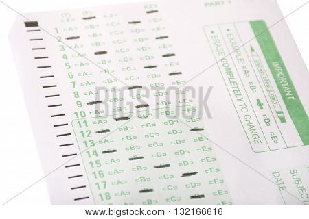 An answer sheet or optical mark recognition sheet with answers filled in.