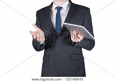 businessman holding a tablet, mobile phone isolated on white background.