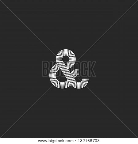 Intersection Thin Line Ampersand Logo Monogram Black And White, Wedding Card Design Element Decorati