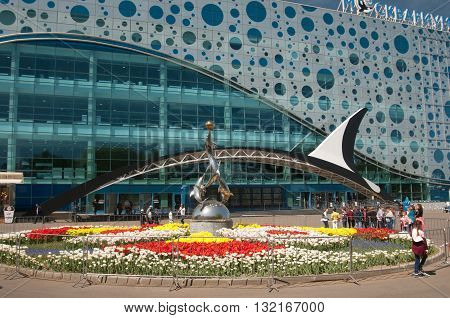 MOSCOW RUSSIA MAY 13. 2016: - VDNKh Moskvarium pavillion - the biggest in Europe sea aquarium and entertainment center