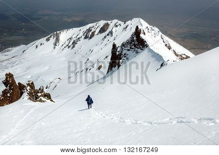 Male climber descends from the top of Erciyes volcano. Turkey