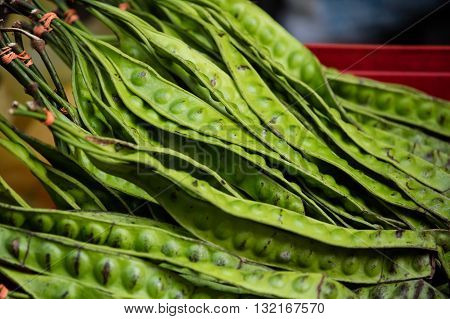Close-up shot of exotic asian giant green beans