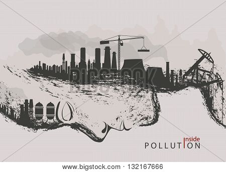 artistic concept of environmental pollution by factories against nature