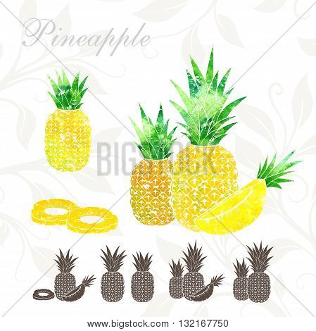 Pineapple icons set. Pineapple illustration with watercolor texture