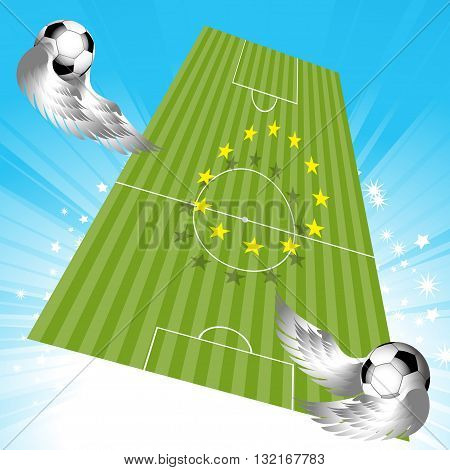 Flying Footballs Soccer Pitch with European Yellow Stars Over Star Burst Sky with Fooballs with Wings