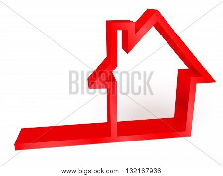 3D red glossy house icon vector illustration