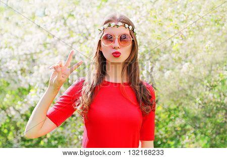 Fashion Beautiful Hippie Woman Having Fun In Flowering Garden