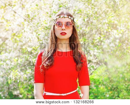 Fashion Beautiful Hippie Woman In A Flowering Spring Garden