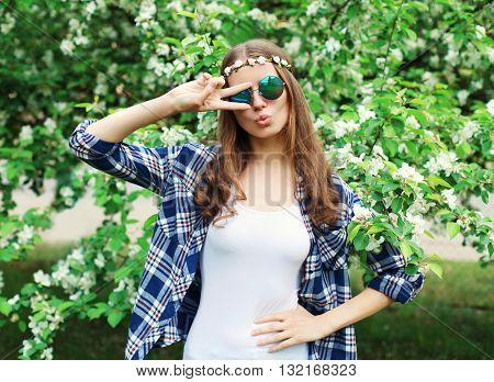 Fashion Cool Hippie Woman Having Fun In Flowering Garden