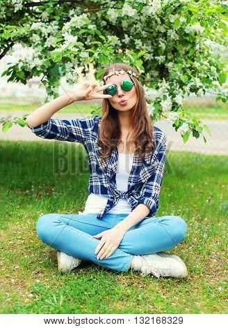 Fashion Cool Hippie Woman Having Fun On Grass In Flowering Garden