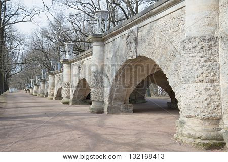 SAINT-PETERSBURG, RUSSIA - APRIL 17, 2016: The walls of the old Cameron Gallery, april day. Historical landmark of the Tsarskoye Selo, Russia