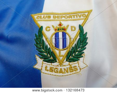 Leganes Soccer Club Patch Sewed In Blue And White Tshirt