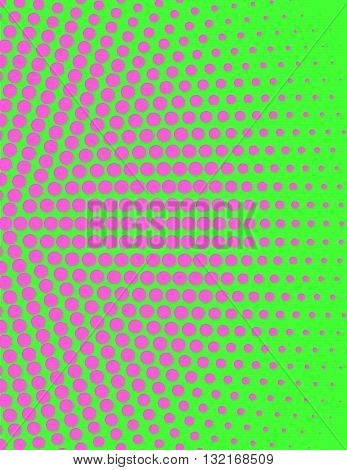 Pink circular halftone design over a bright green background.