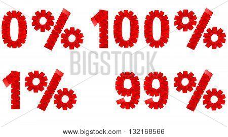 0 1 99 100 percent folded paper sign vector illustration