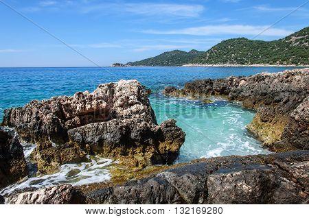 The coastline of the beautiful beach on the Mediterranean Sea.
