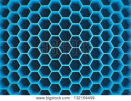 Blue green 3D abstract hexagons design background