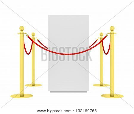 Barrier rope and red box isolated on white background. High resolution 3D illustration
