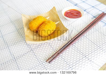 japanese food with crab tempura on the wood plate