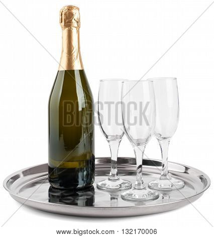 Champagne bottle and three champagne glasses on tray isolated on white background