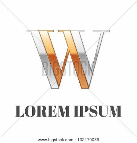 Vector graphic elegant silver and gold impossible font, symbol, alphabet, Letter W