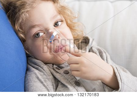 Little Girl Fighting With Asthma