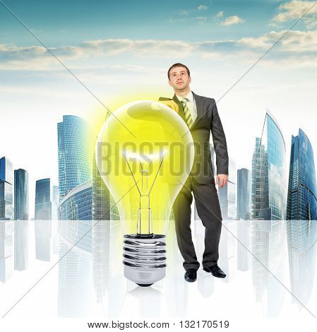 Concept of new idea of businessman on urban background